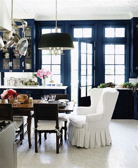 Dark Blue Kitchen Walls by Wingback Chairs For Dining Room Eclectic Dining Room