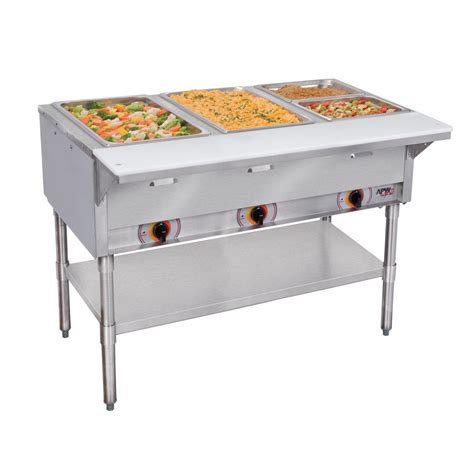 restaurant steam tables apw wyott sst 4 120 4 sealed well electric food steam table coated legs 120v sub
