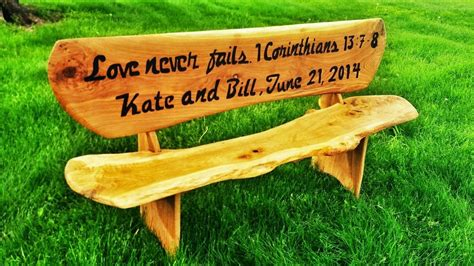 wooden her bench hand made 6 custom engraved wooden bench by covenant