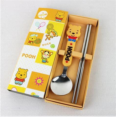 Mangkok Set Stainless Doraemon Pooh pooh stainless steel chopsticks spoon sets birthday school new year