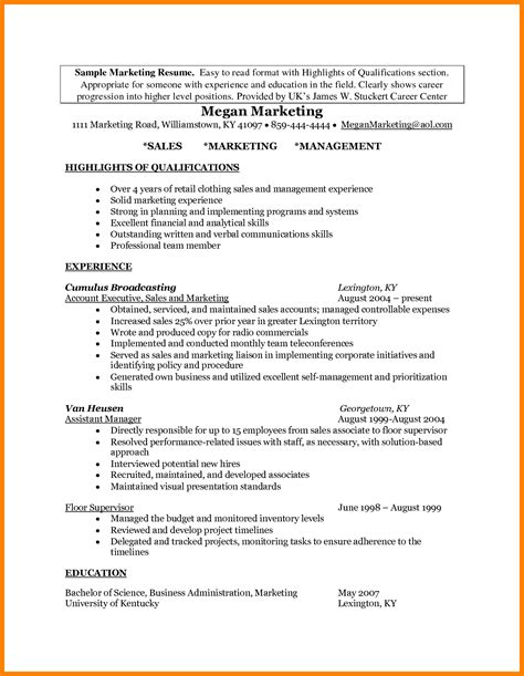 Resume Sles With Highlights 11 highlights resume resume type