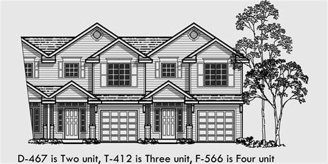 Multi Family House Plans Apartment fourplex house plans 2 story townhouse 3 bedroom
