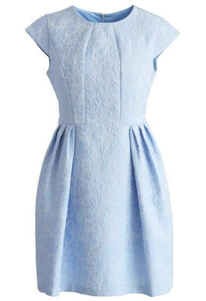 Dress Joyfull dress chicwish joyful floral embossed dress in blue