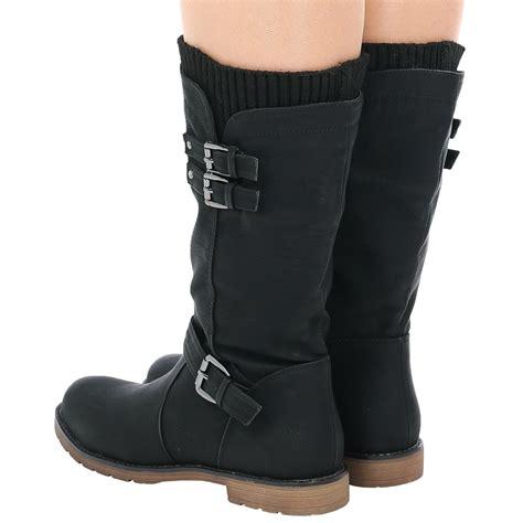 womens low heel buckle zip up biker sock boots