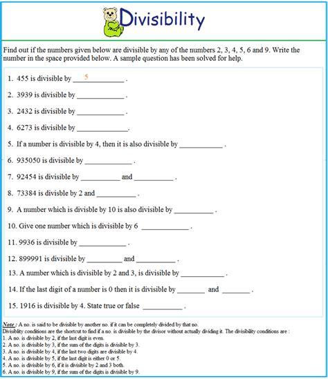 worksheet on divisibility test