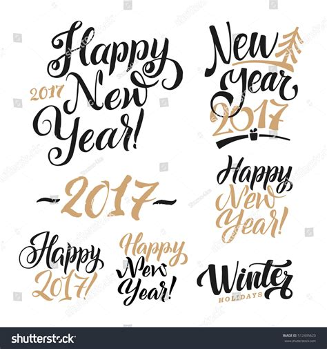 happy new year calligraphy set greeting stock vector
