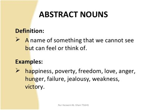abstract nouns definition nouns