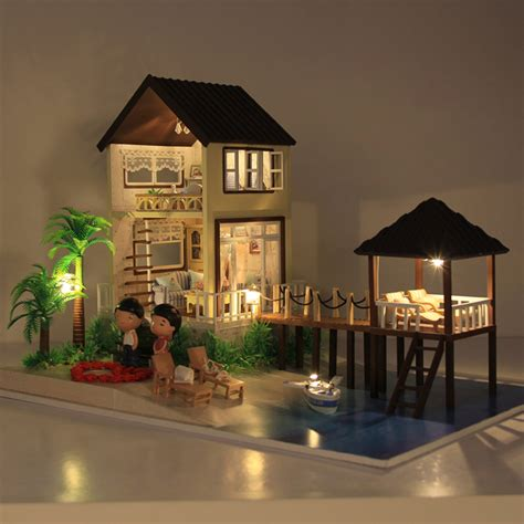 adult doll house handmade wooden doll house toys with furnitures assembling diy miniature model kit