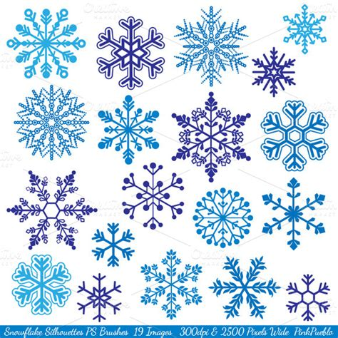 snowflake pattern brush photoshop snowflake silhouettes ps brushes brushes on creative market