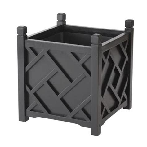 dmc chippendale 14 in square black wood planter 70207