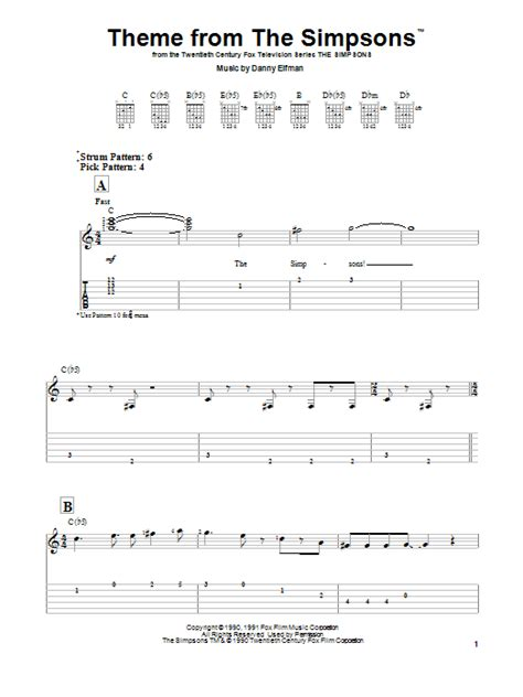 theme songs guitar theme from the simpsons sheet music by danny elfman easy