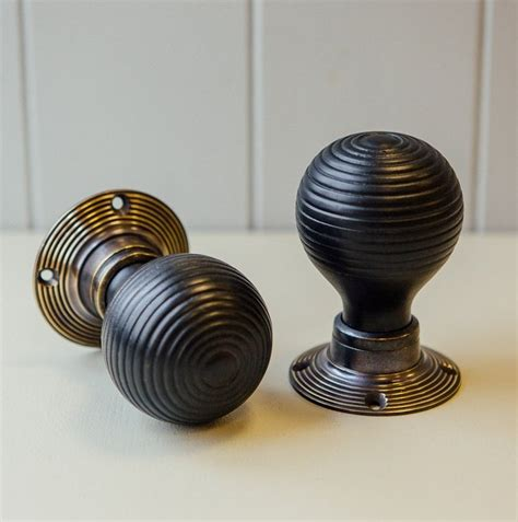 Ebonised Door Knobs by Ebonised Beehive Door Knobs Pair Antique Brass Collar