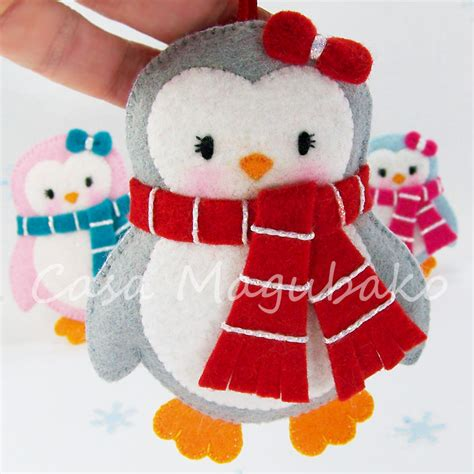 felt penguin digital pattern pdf file diy ornament or