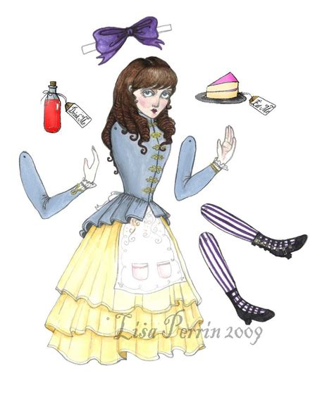 alice in wonderland articulated pap alice paper doll