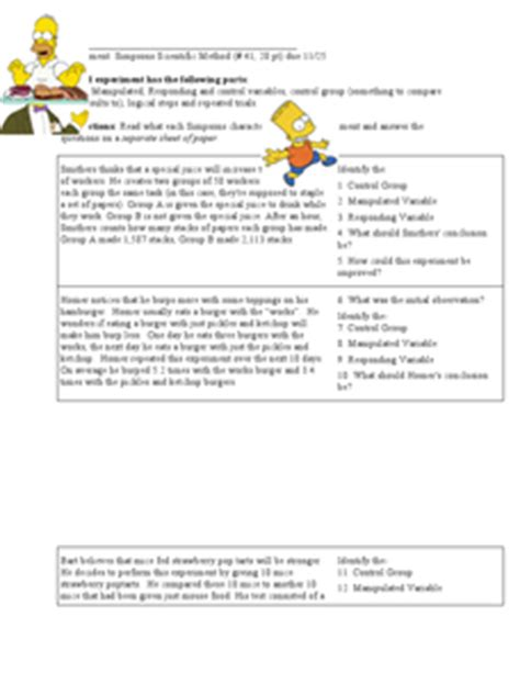 Simpsons Variables Worksheet by Variables With The Simpsons 6th Grade Worksheet Lesson
