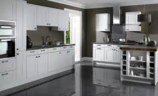 White And Grey Kitchen Cabinets grey kitchen cabinets grey floor white shaker kitchen cabinets grey