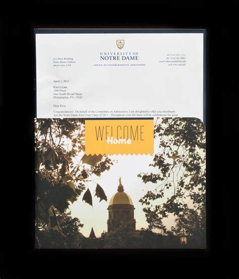 Acceptance Letter Notre Dame Notre Dame Acceptance Packet Tondera Direction Design