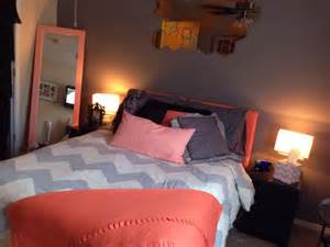 Chevron Bedroom Ideas Coral Peach Amp Grey Chevron Bedroom My Pins Pinterest