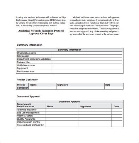 validation plan template plan template