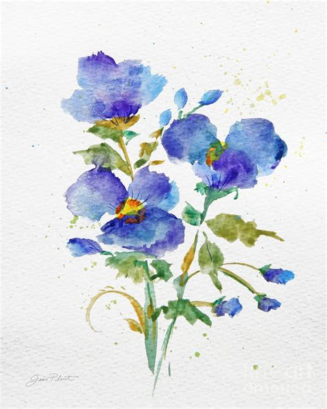 Dark Purple Duvet Covers Purple Blue Watercolor Flowers Jp3793 Painting By Jean Plout