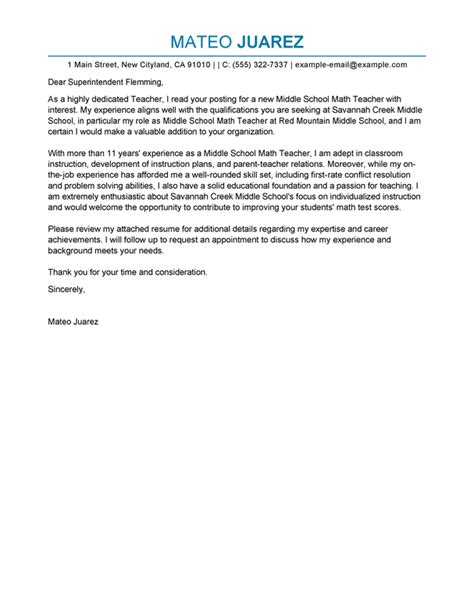 exles of teaching cover letters best cover letter exles livecareer