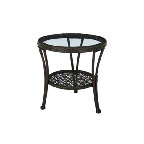 Hton Bay Arthur All Weather Wicker Patio Side Table Patio Table Home Depot