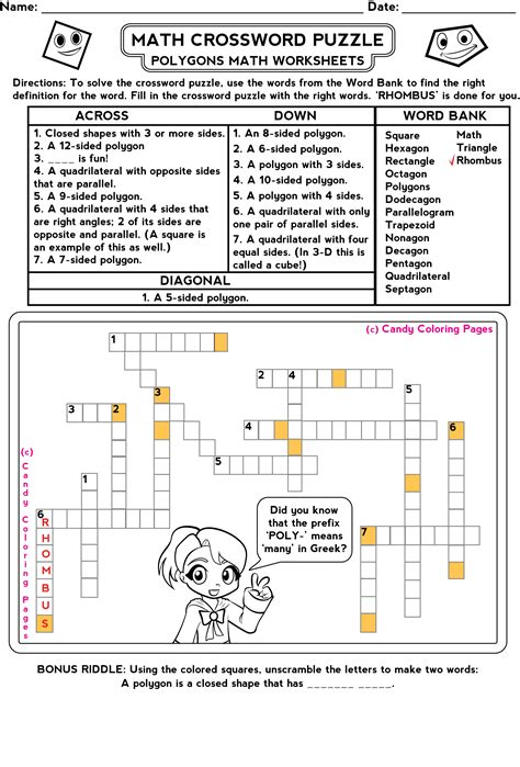 Puzzle Geometri math worksheets educational for