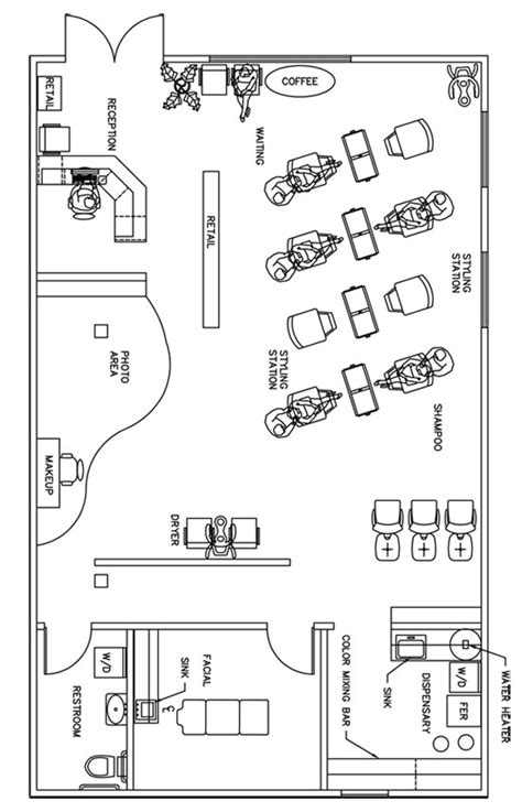 salon layout drawing beauty salon floor plan design layout 1390 square foot