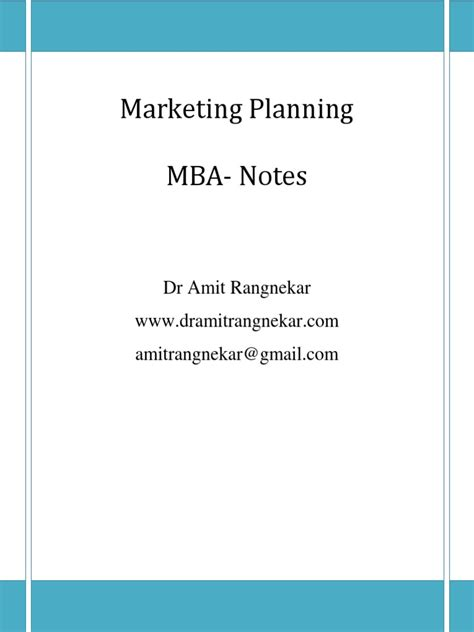 Mba Notes On Marketing Plan by Marketing Planning Notes 1 0 Marketing Brand