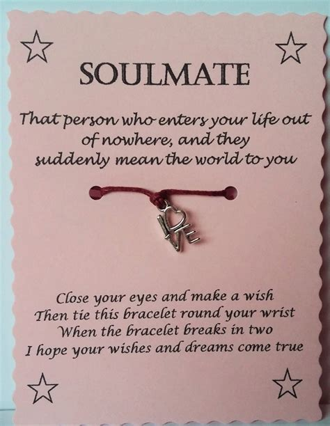 Birthday Quotes For Soulmate Soulmate Gift Soulmate Card Soulmate Wish Bracelet Charm