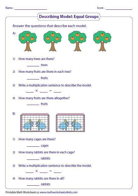Multiplication As Equal Groups Worksheets by Multiplication Models Worksheets