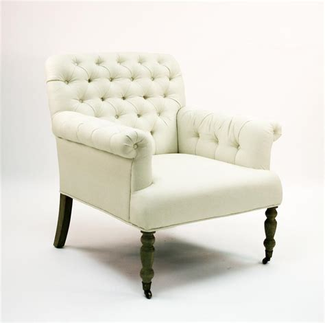 White Tufted Chair by Lorraine White Tufted Linen Arm Chair Kathy Kuo Home