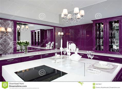 stylish furniture modern purple kitchen with stylish furniture royalty free