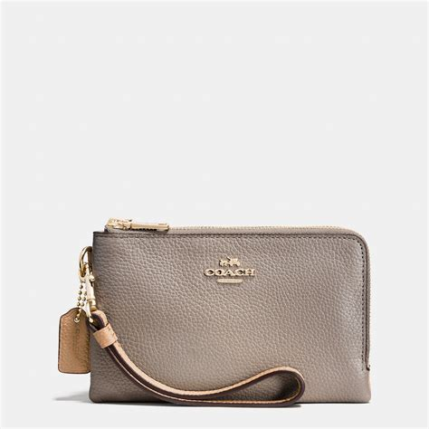 Zip Wristlet coach corner zip wristlet in pebble leather in