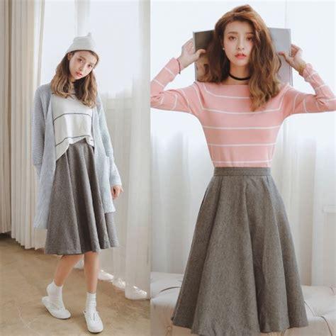 Jfashion Korean Style Midi Dress Motif Dotted high waist simple minimalist grey gray korean style sweet japanese look midi skirt code e405
