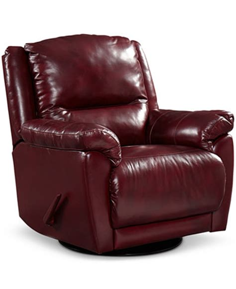 swivel glider recliner leather hughstin leather swivel glider recliner furniture macy s