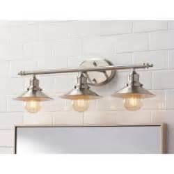 Retro Vanity Light Home Decorators Collection 3 Light Brushed Nickel Retro Vanity Light 1001564508 The Home Depot