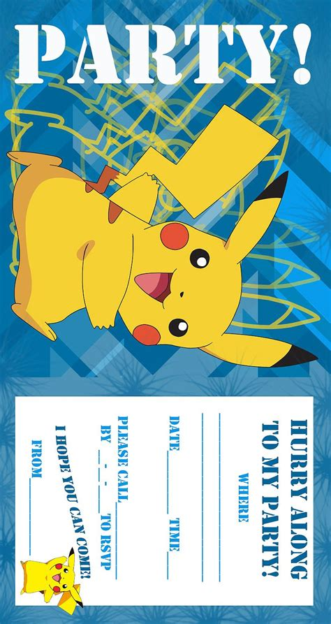 pikachu birthday card template coloring pages birthday invitation free and