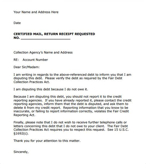 debt collection letter templates free collection letter template 7 documents for pdf