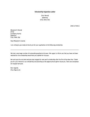 printable rejection letter sample forms templates