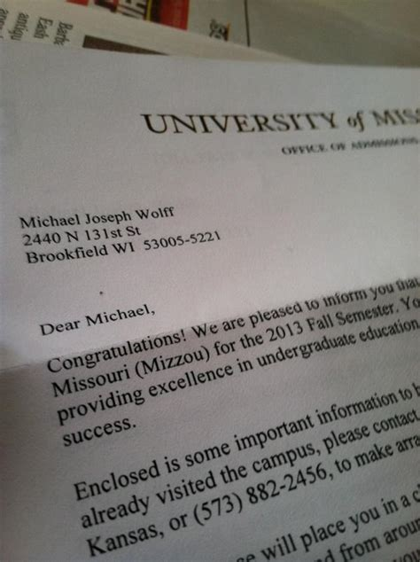 Colorado College Acceptance Letter Michael Wolff On Quot 1st College Acceptance Letter Feels Mizzou Http T Co Xwpgm1bt Quot