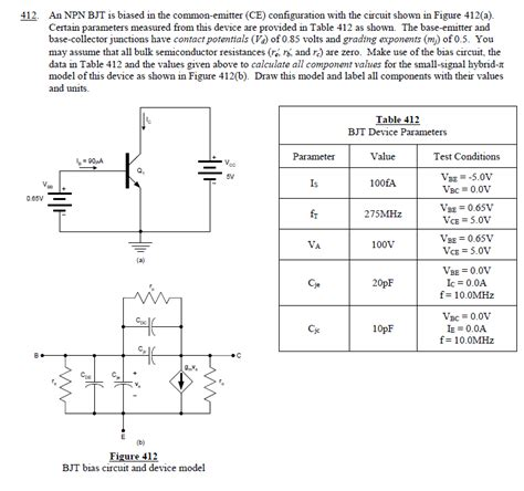 npn transistor in ce configuration 412 an npn bjt is biased in the common emitter chegg