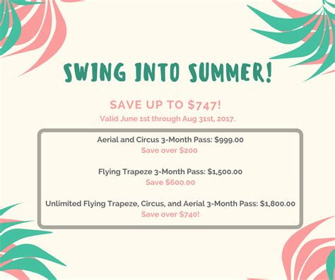swing into swing into summer membership sale emerald city trapeze