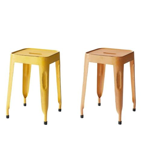 stools in brown yellow set of 2 buy