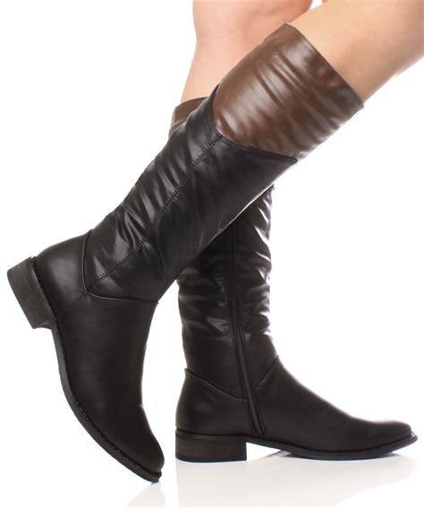 Heel Boot Coboy Black Cs02 5 womens low heel flat two tone cowboy calf