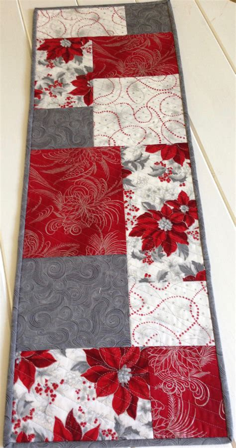 white christmas table runner quilted christmas table runner in red white and by