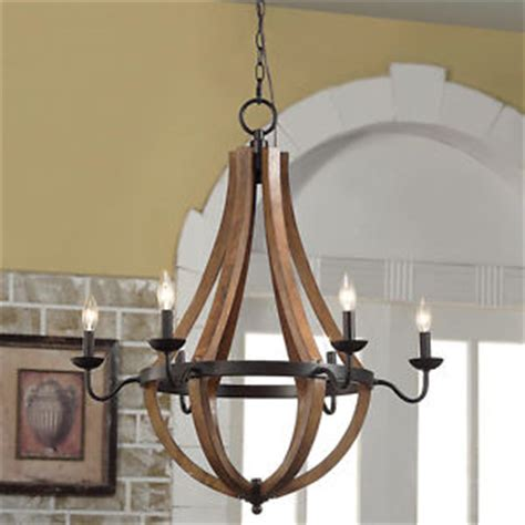 rustic 6 light chandelier wood shade pendant l ceiling