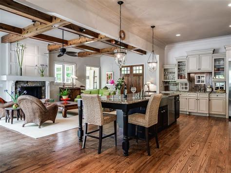 Ceiling Fan Chandelier Combo Rustic Great Room With Stone Fireplace Amp French Doors In