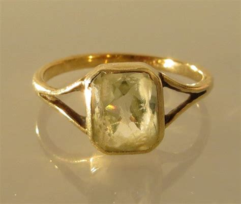 light green stone ring gold ring with light green stone catawiki