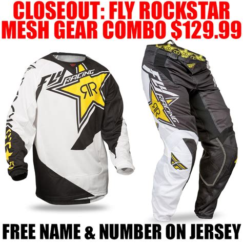motocross gear combos closeouts fly racing rockstar energy kinetic mesh combo pro style mx